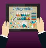 Hands holding a tablet. Abstract Info graphic. Elements. Vector illustration Stock Photo