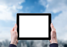 Hands holding tablet Stock Image