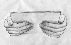 Hands holding tablet computer. Hand drawn pencil sketch of two hands carefully holding tablet computer Stock Image
