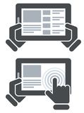 Hands holding tablet computer and open website Royalty Free Stock Photos