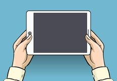 Hands holding tablet computer, vector illustration Royalty Free Stock Image