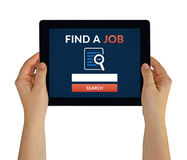 Hands holding tablet with find a job concept on screen Royalty Free Stock Photo