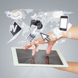 Hands holding tablet pc. Concept electronics Stock Image