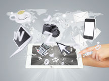 Hands holding tablet pc. Concept electronics Royalty Free Stock Images