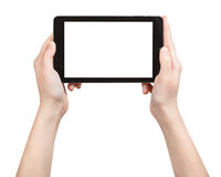 Hands holding tablet pc with cut out screen Stock Photos