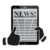 Hands holding tablet pc with news. Stock Image
