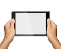 Hands are holding Tablet PC on white Stock Image