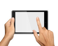 Hands are holding Tablet PC on white Stock Images