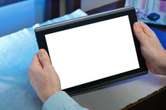 Hands holding tablet-pc Stock Images