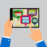 Hands holding tablet with restaurants map. App, vector illustration Royalty Free Stock Photo