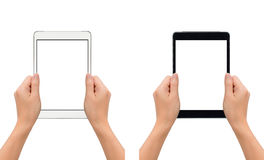 Hands holding tablet in take photo gesture. Close-up image of two human hands holding black and white blank screen digital tablet in take a photo gesture isolate Stock Photos