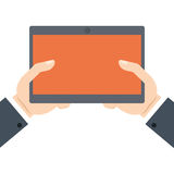 Hands holding tablet technology online shopping. Illustration eps 10 Royalty Free Stock Images