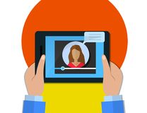 Hands holding tablet with video player on screen, female video blogger concept Royalty Free Stock Photography