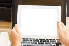 Hands holding tablet Royalty Free Stock Photography