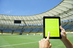 Hands Holding Tactics Board Football Stadium Rio Brazil Royalty Free Stock Photography