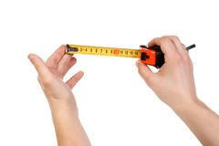 Hands holding tape measure Royalty Free Stock Photography