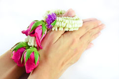 Hands holding Thai garland  Stock Images
