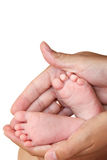 Hands holding tiny foot of newborn baby isolated Stock Photography