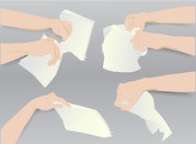 Hands holding torn and crumpled paper notepads. Simple template with six hands and blank paper notepads Stock Images