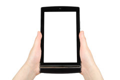 Hands holding touch screen tablet pc Stock Photo