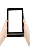 Hands holding touch screen tablet pc Royalty Free Stock Photography