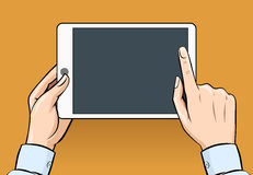 Hands holding and touching on digital tablet in Stock Image