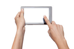 Hands holding and touching tablet Royalty Free Stock Photography
