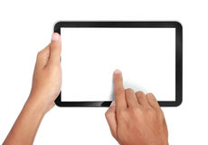 Hands holding and touching on tablet pc Stock Image