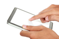 Hands holding and touching on tablet pc Royalty Free Stock Photo