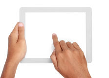Hands holding and touching on tablet pc Stock Images