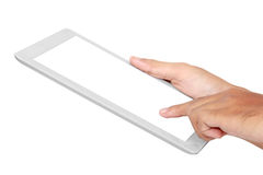 Hands holding and touching on tablet pc Royalty Free Stock Photography