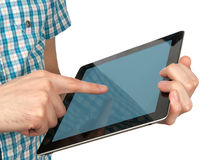 Hands holding a touchpad pc Royalty Free Stock Images