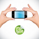 Hands Holding Touchscreen Mobile Phone. Vector Hands Holding Touchscreen Mobile Phone Stock Photo