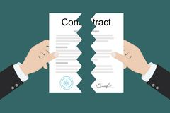 Hands holding two parts torn contract, flat vector illustration stock illustration