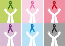 Hands holding up ribbon Stock Photo