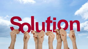 Hands holding up solution stock video footage