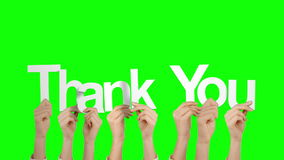 Hands holding up thank you. On green screen background stock video footage