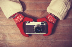 Hands holding vintage camera Stock Photography