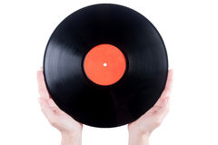 Hands holding vinyl plate Royalty Free Stock Photos