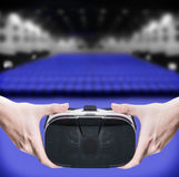 Hands holding virtual glasses Stock Images