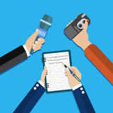Hands holding voice recorder, microphone Royalty Free Stock Photography