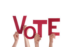 Hands Holding Vote Stock Photography