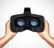 Hands Holding VR Headset Realistic Image Royalty Free Stock Photos