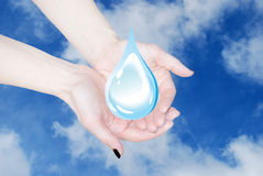 Hands holding water drop Royalty Free Stock Image