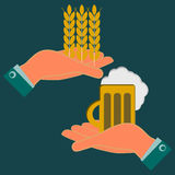 Hands holding wheat ears and a mug of beer. Exchange, investments in agriculture. The production of beer and beverages vector illustration