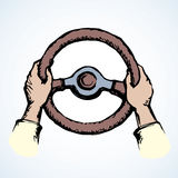 Hands holding the wheel. Vector drawing. Palms catch cab rule old cap circle helm isolated on white backdrop. Bright color hand drawn picture sketchy in art Stock Photos