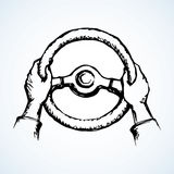 Hands holding the wheel. Vector drawing. Palms catch helm isolated on white backdrop. Freehand outline ink hand drawn picture sketchy in art retro scribble style Stock Photos