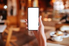 Hands holding white screen smartphone on blurred background. royalty free stock image
