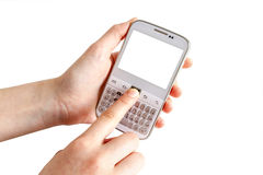 Hands holding white smart phone Stock Photo