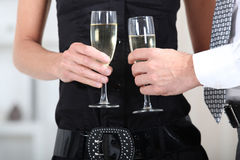 Hands holding wine glasses Royalty Free Stock Image
